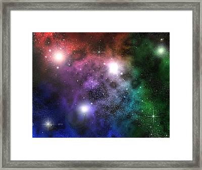 Framed Print featuring the digital art Space Clouds by Phil Perkins