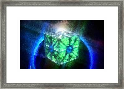 Space Cube Framed Print