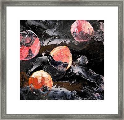 Space Eaten Peaches Framed Print by Evguenia Men