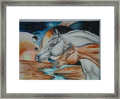 Space Horses  Framed Print by Andrea  Darlington