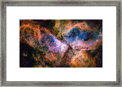 Space Image Carina Nebula Orange Red Blue Framed Print