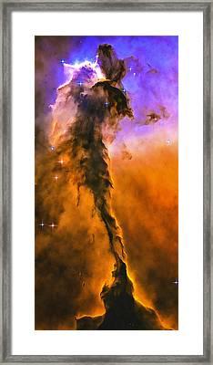 Space Image Eagle Nebula Orange Purple Bue Framed Print