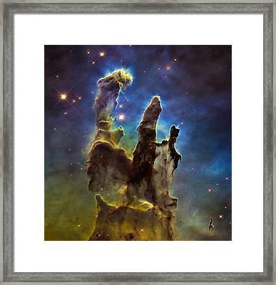 Space Image Eagle Nebulas Pillars Of Creation Framed Print