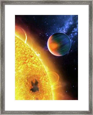Framed Print featuring the photograph Space Image Extrasolar Planet Yellow Orange Blue by Matthias Hauser