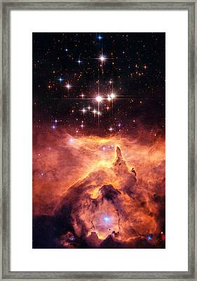 Space Image Orange And Red Star Cluster With Blue Stars Framed Print