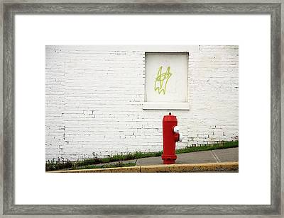 Space Invader And The Unsuspecting Hydrant  Framed Print