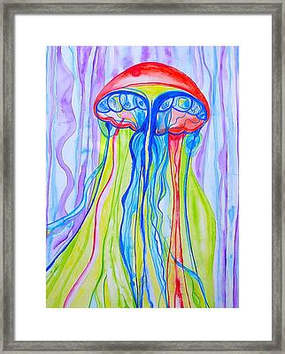 Framed Print featuring the painting Space Jelly by Erika Swartzkopf