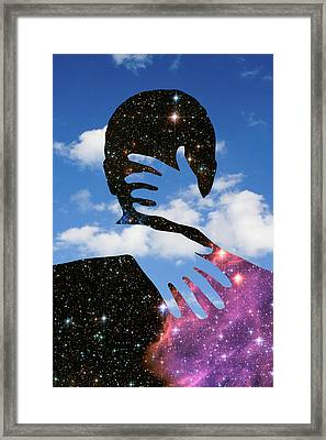 Space Kiss Framed Print
