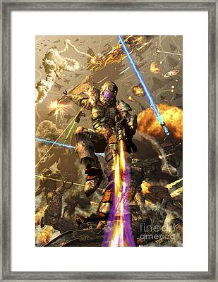 Space Marine Fighting A Chaotic Battle Framed Print by Kurt Miller