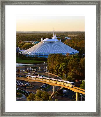 Space Mountain And Monorail Peach Framed Print