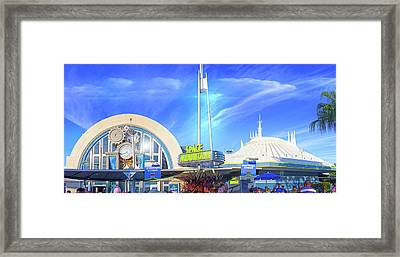 Framed Print featuring the photograph Space Mountain Entrance Panorama by Mark Andrew Thomas