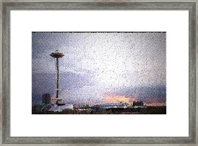 Space Needle And Emp At Sunset Framed Print by James Johnstone