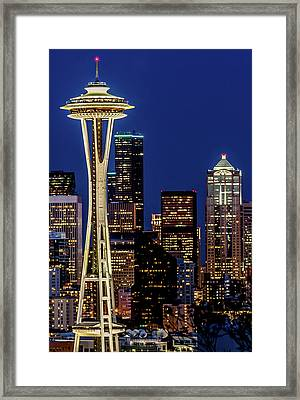 Space Needle And Skyline At Dusk Framed Print by Rob Green