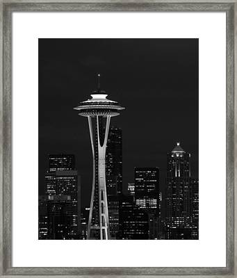 Space Needle At Night In Black And White Framed Print