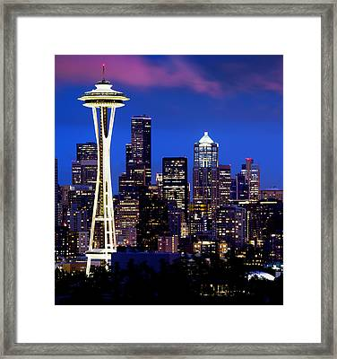 Space Needle At Night  Framed Print