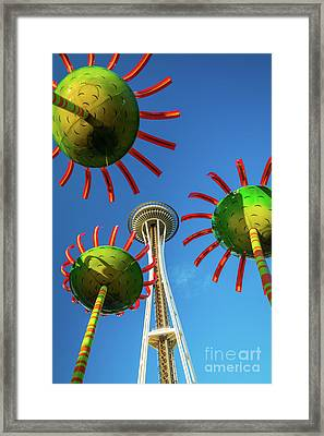 Space Needle Bloom Framed Print by Inge Johnsson