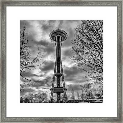 Space Needle Bw Framed Print
