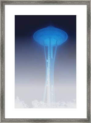 Space Needle In Serious Fog - Seattle Wa Framed Print by Christine Till