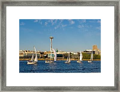 Space Needle Sailboats Framed Print by Tom Dowd