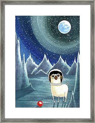 Space Pug  Framed Print