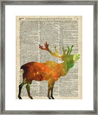 Space Reindeer Framed Print