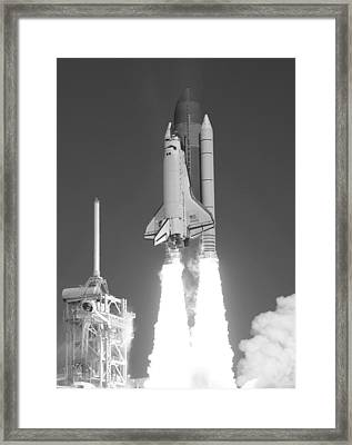 Space Shuttle Atlantis Launch Framed Print by War Is Hell Store