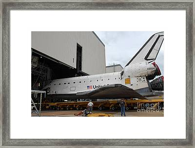 Space Shuttle Atlantis Rolls Framed Print by Stocktrek Images