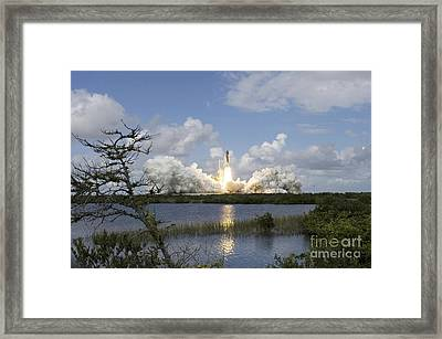 Space Shuttle Discovery Liftoff Framed Print by Stocktrek Images