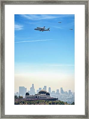 Space Shuttle Endeavour, Chase Planes Over The Griffith Observatory Skyline Framed Print by David Zanzinger