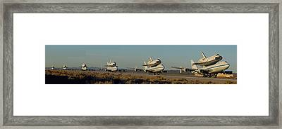Space Shuttle Endeavour Departs Edwards Afb December 10 2008 Multiple Exposure Framed Print by Brian Lockett