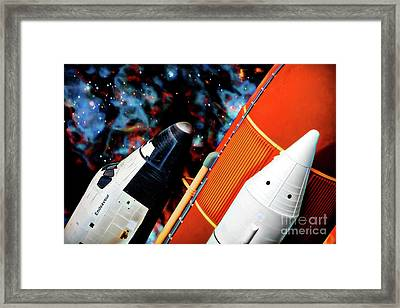 Framed Print featuring the digital art Space Shuttle by Ray Shiu