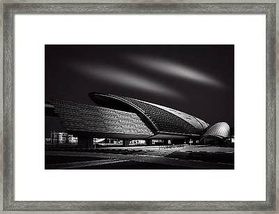 Dubai Metro Station Mono Framed Print by Ian Good