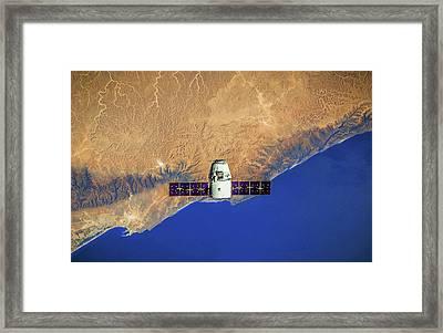 Spacecraft In Space Framed Print by Leonardo Digenio