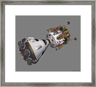 Framed Print featuring the digital art Spaceship Columbia And Lander Morningstar by David Robinson