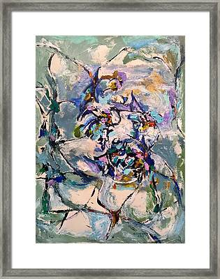 Framed Print featuring the painting Spacial Encounter by Nicolas Bouteneff