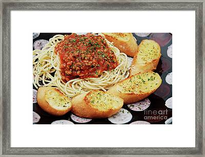 Spaghetti And Meat Sauce With Garlic Toast  Framed Print by Andee Design
