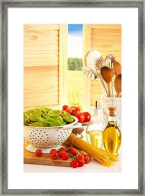 Spaghetti And Tomatoes In Country Kitchen Framed Print
