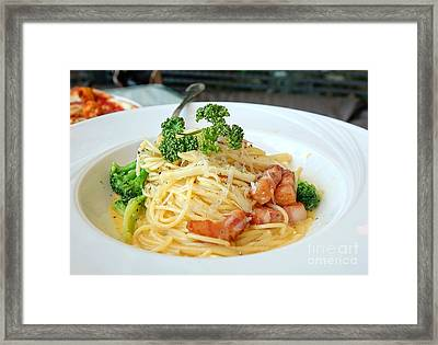 Spaghetti Carbonara With Vegetables And Ham Framed Print