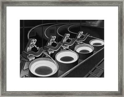 Spaghetti Dinner Framed Print by Boris Artzybasheff