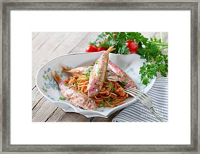 Spaghetti With Red Mullet Framed Print by Ezeepics