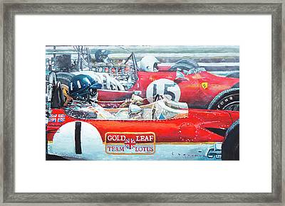 Spain Gp 1969  Lotus 49 Hill  Ferrari 312 Amon  Lotus 49b Rindt  Framed Print