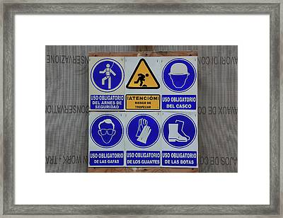 Spain, Sign At A Construction Site In Spanish Framed Print