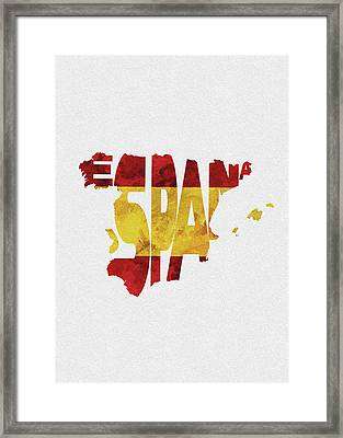 Spain Typographic Map Flag Framed Print
