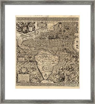 Spanish America, 16th Century Map Framed Print