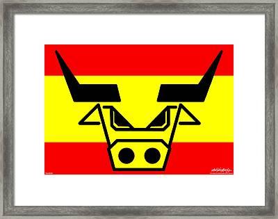 Spanish Bull Framed Print by Asbjorn Lonvig