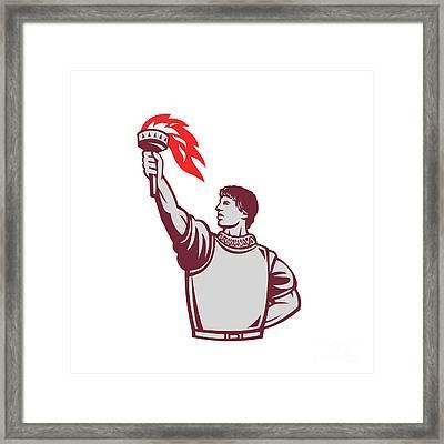 Spanish Conquistador Raising Up Torch Retro Framed Print