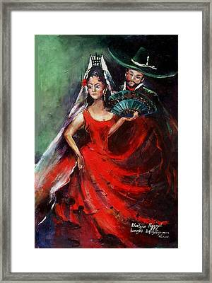 Spanish Dancers Framed Print by Khatuna Buzzell