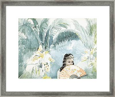 Spanish Girl With A Fan Framed Print by Winslow Homer