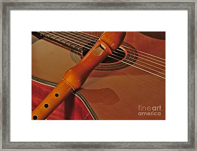Spanish Guitar And Flute Framed Print