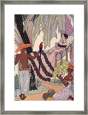 Spanish Lady In Hammock With Parrot Framed Print by Georges Barbier